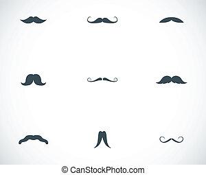 moustaches, ensemble, noir, vecteur, icônes