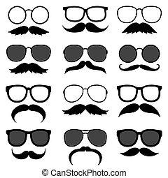 moustaches, ensemble, vecteur, hipster