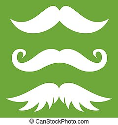 Moustaches icon green - Moustaches icon white isolated on...