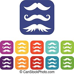 Moustaches icons set vector illustration in flat style in...