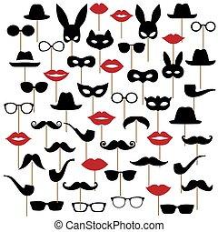moustaches., jogo, máscaras, óculos, lábios, vetorial, ilustrações, chapéus