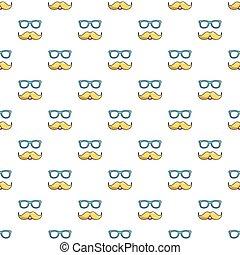 moustaches, modèle, lunettes, seamless, nerd