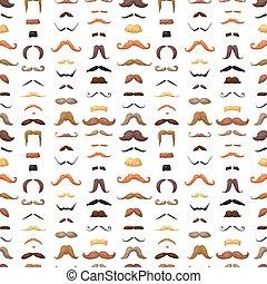 moustaches, modèle, seamless, vector.