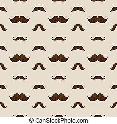 moustaches, modèle, vecteur, hipster, seamless