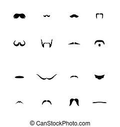 moustaches, noir