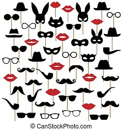 moustaches., satz, masken, brille, lippen, vektor, illustrationen, hüte