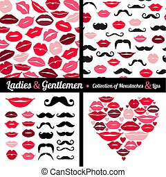 Moustaches set - Collection of moustaches and lips