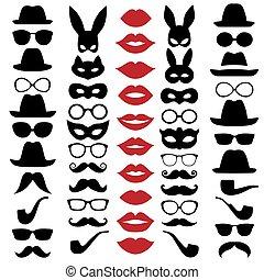 moustaches., set, maskers, bril, lippen, vector, illustraties, hoedjes