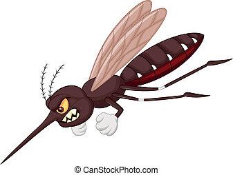 moustique, dessin animé, fâché