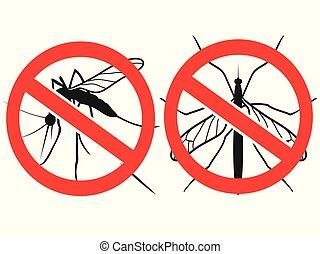 moustiques, anti, vecteur, signe