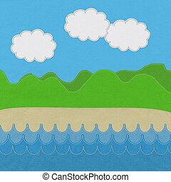 Moutain landscape with stitch style on fabric background