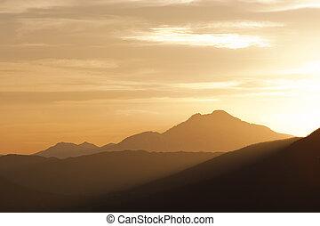 moutain range landscape - sunset scenic of a mountain range...