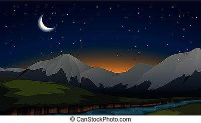 moutain, scène, nuit