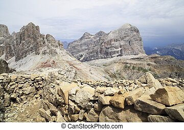 view to rocky dolomite mountain in italy