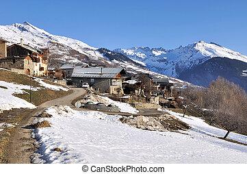 moutain village in winter