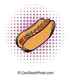 moutarde, comiques, chaud, icône, chien