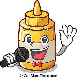 moutarde, jaune, bouteille plastique, chant, dessin animé
