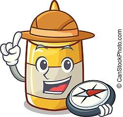 moutarde, jaune, bouteille plastique, dessin animé, explorateur