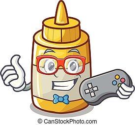 moutarde, jaune, plastique, gamer, bouteille, dessin animé