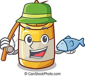 moutarde, jaune, plastique, peche, bouteille, dessin animé