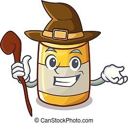 moutarde, jaune, plastique, sorcière, bouteille, dessin animé