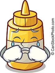 moutarde, pleurer, jaune, bouteille plastique, dessin animé