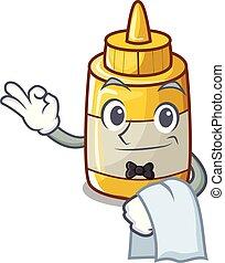 moutarde, serveur, jaune, bouteille plastique, dessin animé