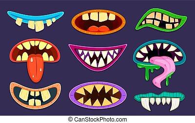 mouth., étrangers, caricature, vecteur, monstre, langue, lutin, teeth., mignon, bouches, dessin animé, ensemble, effrayant, halloween, gremlin, trolls