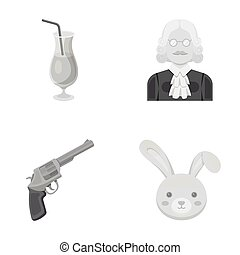 mouth, alcohol and other monochrome icon in cartoon style.Justice, animal icons in set collection.