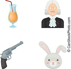 mouth, alcohol and other web icon in cartoon style.Justice, animal icons in set collection.