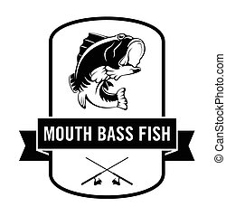 Mouth bass fish : Fisher label badge