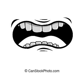 mouth cartoon icon - cartoon mouth with teeths with angry ...