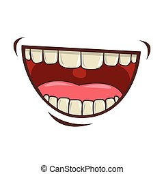 mouth cartoon icon - cartoon mouth with teeths with happy ...