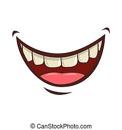 mouth cartoon icon - cartoon mouth with teeths with happy...
