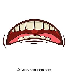 mouth cartoon icon - cartoon mouth with teeths with sad ...