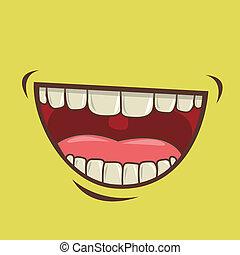 mouth design over green background vector illustration
