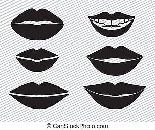 mouth design over lineal background vector illustration