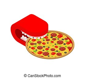 Mouth eating pizza isolated. Fast food vector illustration