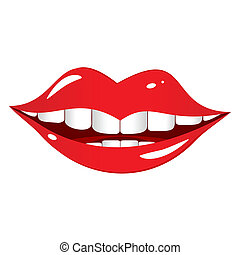 Bright red lips on a white background. The mouth comical and cheerfully smiles.
