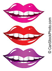 Mouth laughs. Set - Set of different colored lips on a white...
