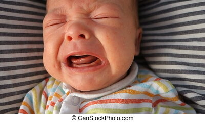 Mouth of crying newborn baby slow-motion - Mouth of crying...