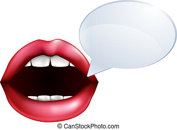 An illustration of open mouth or lips talking with a speech bubble for the words