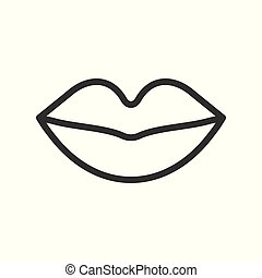 mouth simple outline vector icon, organ related