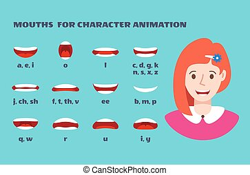 Mouth sync. Girl face with lips talking expression. Articulation and smile, speaking female mouths animation with alphabet vector