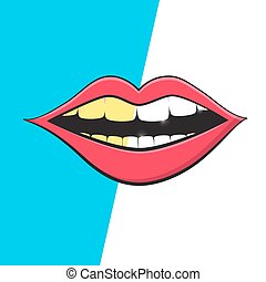 Mouth - Teeth Cleaning Symbol. Vector Retro Mouth Hygiene...