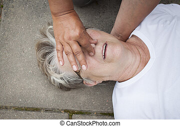 Mouth to mouth resuscitation - A sick senior old lady...