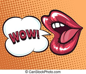 Mouth with speach bubble. Wow and female mouth in pop art...