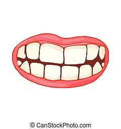 Mouth with white healthy teeth icon, cartoon style