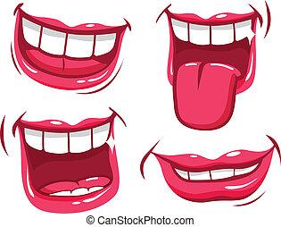 mouths., χαμογελαστά , μικροβιοφορέας , εικόνα , συλλογή