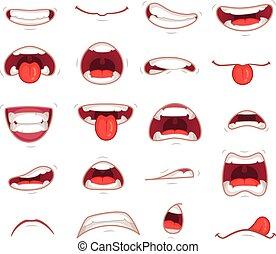 mouths., schok, illustratie, het schreeuwen, vector, mond, gezichts, teeth, het bijten, het glimlachen, lip, uitdrukking, spotprent, verwonderd